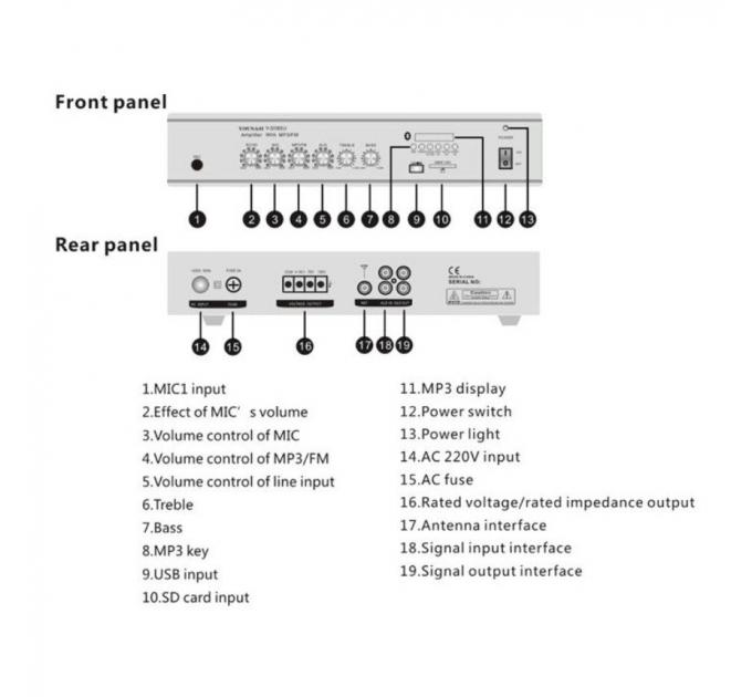Трансляционный усилитель Younasi Y-5060U, 60Вт, USB, FM, Bluetooth