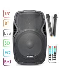 """Портативная акустическая система Vonyx AP1500PA Portable Speaker 15"""" 2VHF MP3 BT"""